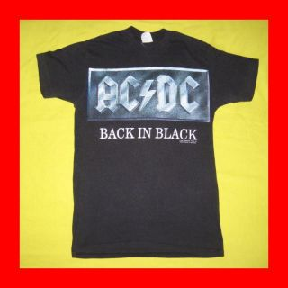 Vtg AC DC Back in Black T Shirt Tour Spring Ford 50 50
