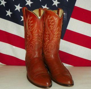 Mens Acme Brown Leather Cowboy Boots Size 9 5 D