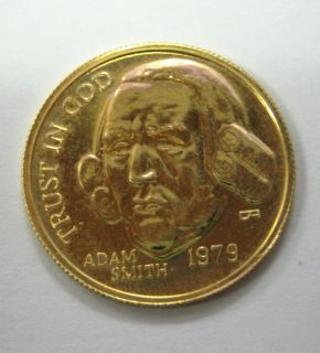 1979 ADAM SMITH 1 10 Oz 1 10th Ounce Pure Gold Commemorative Coin