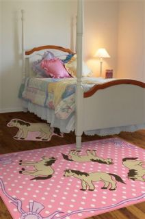 EQUESTRIAN HORSES PONIES 3X5 RUGS GIRLS BED ROOM PLAY ROOM PINK IVORY