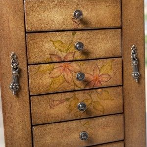 Addison Hand Painted Wooden Jewelry Box Organizer 6 Draws 2 Swing Open