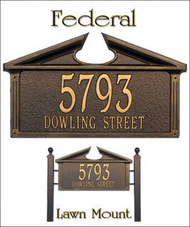 Personalized Federal Address Plaque Marker Whitehall 2 Mounts 4 Color