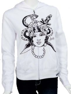 Sailor Jerry Womens Gypsy Tattoo White Hoodie Zip Sweatshirt Jacket s
