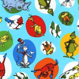 Yards Dr Seuss Cat in The Hat Ade 11965 203 Fabric Robert Kaufman