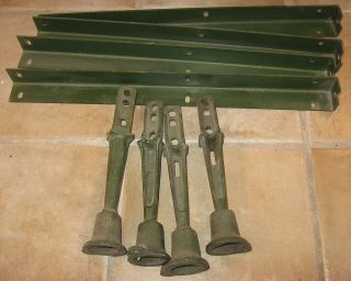 Machine Age FOUR Cast Iron Screw Jack Adjustable Legs w Rack Rails