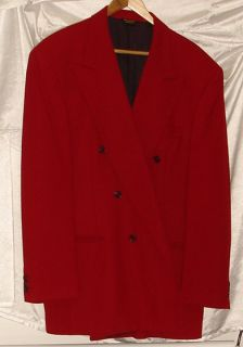 Adolfo Red Double Breasted Sport Coat/Blazer/Jacket Mens 44 R