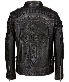 New Affliction Black Premium Leather Jacket Gear Up Limited Sz M