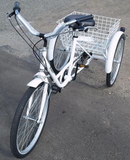 NEW 3 Wheel Adult 24 Tricycle 6 Speed Bicycle Trike ~ RED, WHITE