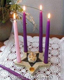 Star Advent Wreath Christmas Candle Holder Removable Baby Jesus New
