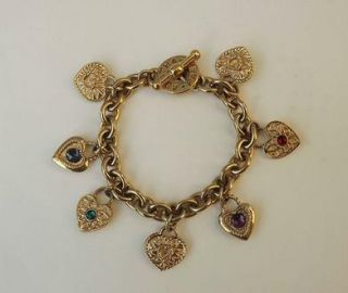 Retired Heart Hearts Charm Bracelet by Agatha Paris Gold Plated Jewel