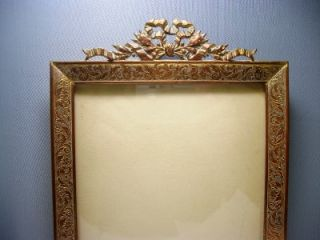 Antique French Empire Etched Gilt Ormolu Picture Frame Laurel Leaves