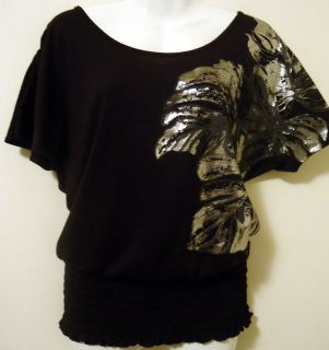 Agenda LARGE Black Top Shirt w/ Silver Design   USA SELLER