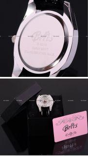 Brits Crystal Bezel Leather Ladies Quartz Wrist Watch