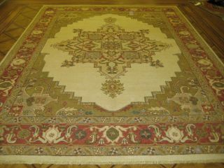 9x12 Beige & Coral Red Agra Oushak Hand Knotted Wool Oriental Rug Free