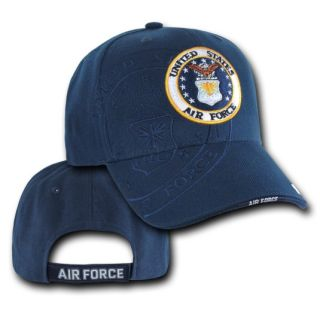 Air Force USAF Emblem with Side Shadow Logo Blue Hat Cap