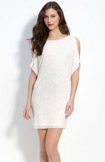 aidan mattox sequin cold shoulder dress size 6