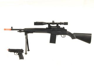 AIRSOFT GUN M14 SYTLE SNIPER RIFLE WITH SCOPE BIPOD FREE PISTOL
