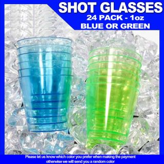 Green Blue Hard Plastic 1 oz Mini Wine Glass Party Cups Barware