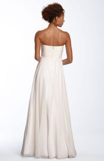Aidan Mattox Beaded Strapless Chiffon Wedding Gown 10
