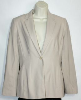 AK Anne Klein Petite Blazer Jacket Coat Khaki Suit Weight Wool