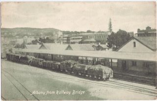 ALBANY FROM RAILWAY BRIDGE GOODS WAGONS WESTERN AUSTRALIA NORMAN