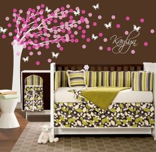 Nursery Tree Decal Cherry Blossoms and Butterflies Vinyl Wall Decal