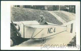 Little Boy in Pedal Toy Airplane Photo Postcard CA 1915