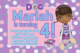 Doc McStuffins Birthday Party Invitations   U Print   Photo Custom