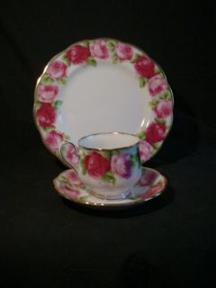 Old Royal Albert Bone China Old English Rose Trio Cup Saucer 8 Plate