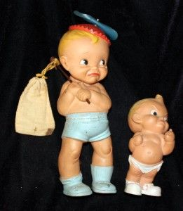 Vintage Rubber Squeek Toy Baby Boys one Marked Alan Jay 1956