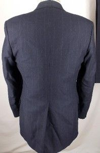 38 R Sterling Hunt Wool Navy Blue Pinstriped 2 Button Business Career