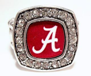 Alabama Crimson Tide Roll Tide Silver Rhinestone Crystal Letter A Ring