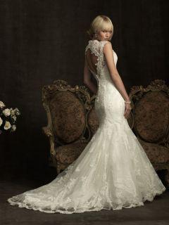 Sexy Elegant V Neckline Mermaid Lace Wedding Dress Bridal Gown