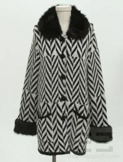 Alberto Makali Black White Grey Wool Faux Fur Trim Jacket