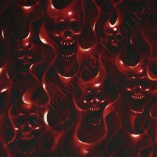 Alexander Henry Skulls on Fire Red Flames Skulls Cotton Fabric 15 x44