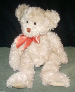 Russ Alanna Plush Teddy Bear Cream Colored Orange Bow Stuffed Animal