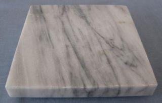 Grayish Greyish White Alabaster Stone Square Slab Trivet 6 in inch
