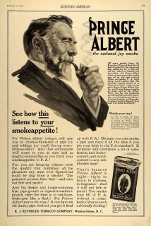 1916 Ad Prince Albert Tin Pipe Tobacco Man Smoking Original
