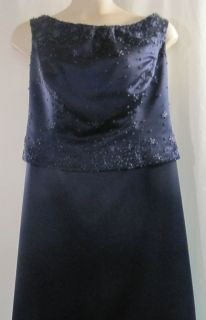 Alfred Angelo Navy Blue Formal Dress with Beading Size 22