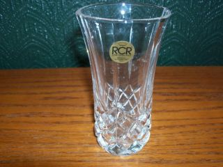 Royal Crystal Rock Small Vase with Diamond Cut Accents 24 Lead Crystal