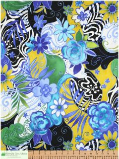 Alexander Henry Fillmore Floral Pool Blue Cotton Fabric