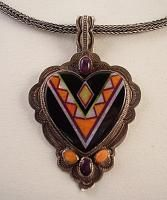 Aldrich Art Sterling Silver Inlay Heart Pendant Necklace