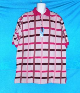 Mens 2XL XXL Baby Bluez Pink Plaid Polo Golf SS Shirt New Free