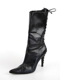 Alexandra Neel Black Boot Sz 36 Leather Lace Up at Socialite Auctions