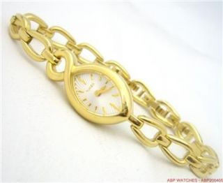 TIMEX STUNNING LADIES POLISHED GOLD PLATED WATCH & BRACELET SET