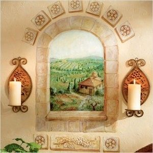 Wallies Murals wallpaper mural Tuscan window view country winery wall