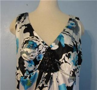 18W Alex Evenings Black Turquoise Blue Beaded Inset Floral Dress V
