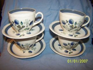 Vtg Alfred Meakin England Blue Clover Pattern 4 Coffee Tea Cups and