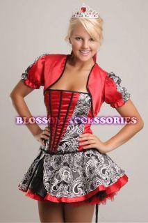 BL2 Ladies Red Queen of Hearts Alice in Wonderland Fancy Dress Costume