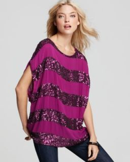 Alice Olivia New Caroline Purple Sequined Striped Short Sleeve Tunic